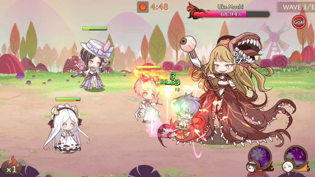 A screenshot of combat in Food Fantasy. Four smaller characters are attacking a larger, more grotesque creature. Food Fantasy, ELEX, Elex Wireless, 2018.