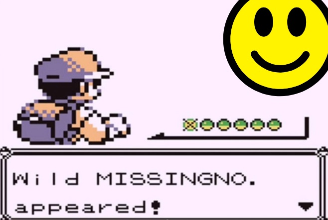 "A screenshot of one of the original Pokemon games depicting the trainer facing off against a Missingno, but the Missingno has been replaced with a smiley face. Beneath the trainer is text reading, ""Wild MISSINGNO. appeared!"""