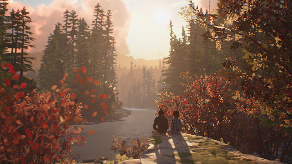 Sean and Daniel sit on a rock, looking out at a river and surrounded by trees. Life is Strange 2, Dontnod Entertainment, 2018