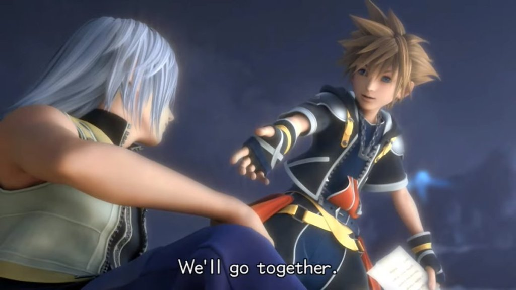 """Sora reaching out to Riku, with the words, """"We'll go together,"""" superimposed on the screen. Kingdom Hearts II, Square Enix, 2005."""