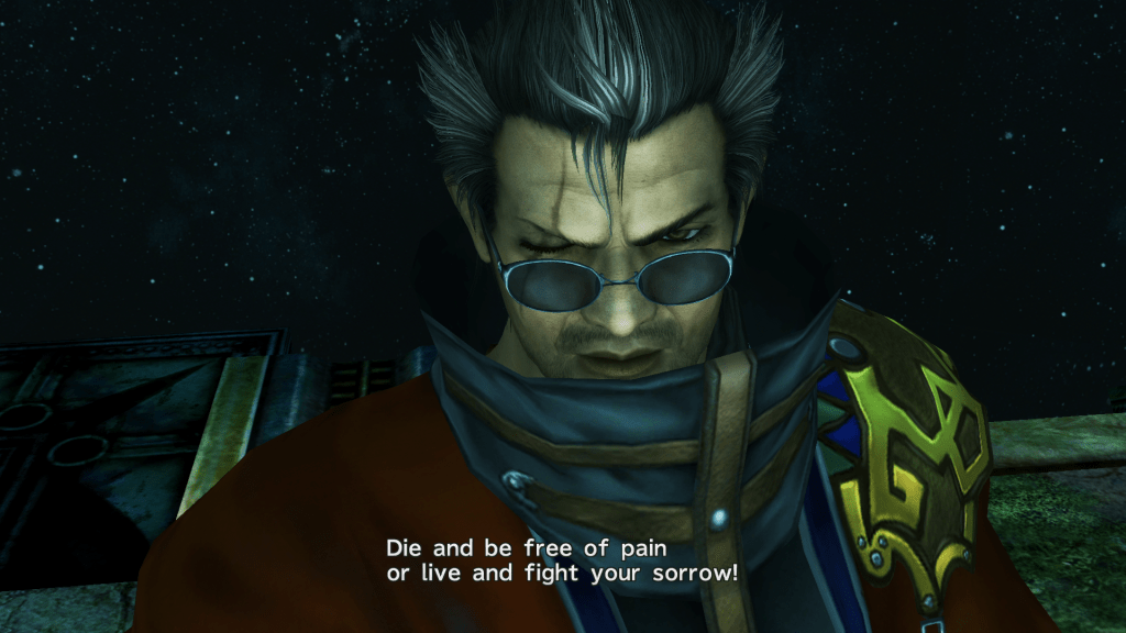 "A picture of Auron from Final Fantasy X. He has greying hair, a scar over his right eye, and dark glasses. He says, ""Die and be free of pain or live and fight your sorrow!"" Final Fantasy X, Square, 2001."