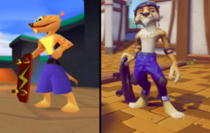 Hunter, a skateboarding cheetah, in the original Spyro games next to the remastered Hunter. Spyro Reignited Trilogy, Toys for Bob, Activision, 2018.
