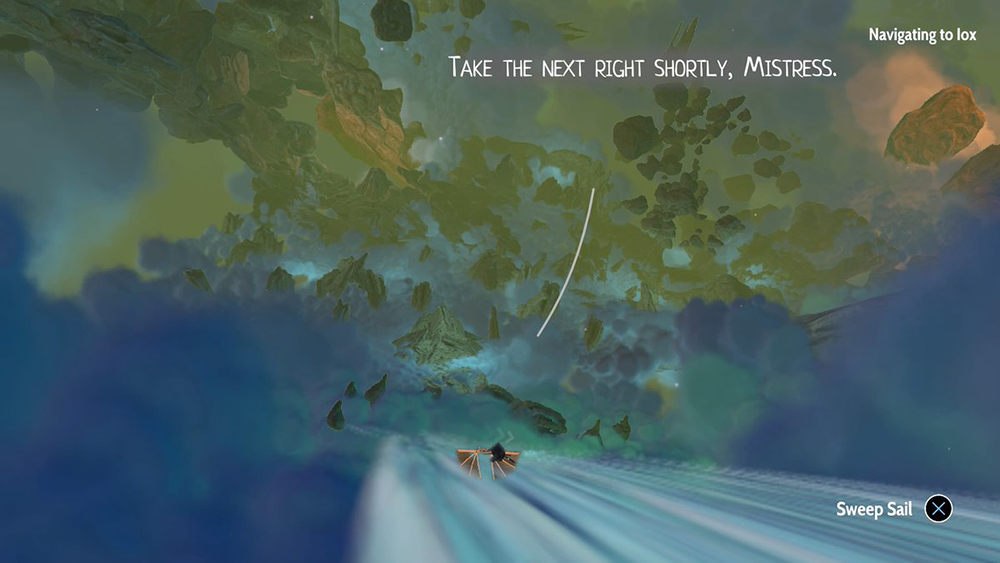 """A screenshot of Aliya's ship traveling through the """"waters,"""" space highways that connect her system of moons. The ship is small in the foreground, and the player can see the gorgeous blues and greens of the nebula stretching out ahead. Lettering towards the top of the screen shows Six's dialogue: """"Take the next right shortly, Mistress."""" Heaven's Vault, Inkle, 2019."""
