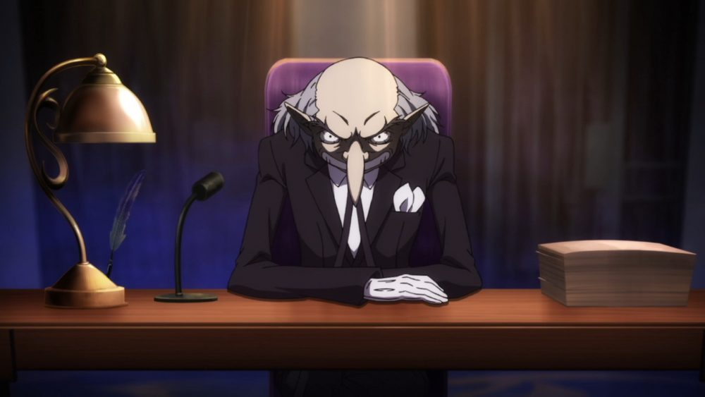 Igor, a balding dude with a REALLY long and pointy nose, smirks at the camera. Persona 5: The Animation, Cloverworks, 2018.