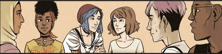 Max and Chloe sit among a group of other people, looking at one another. Life is Strange Volume One: Dust, Titan Comics, 2019.