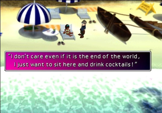 """A sunbather in Costa Del Sol. A text box reads, """"I don't care even if it is the end of the world, I just want to sit here and drink cocktails!"""""""