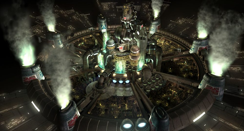 "A screenshot from FFVII that shows the heavily industrial city of Midgar at night, which sits at the center of an eight-spoked wheel-like city plan, with eight Mako reactors at the end of each ""spoke."" Final Fantasy VII, Square Enix, 1997."