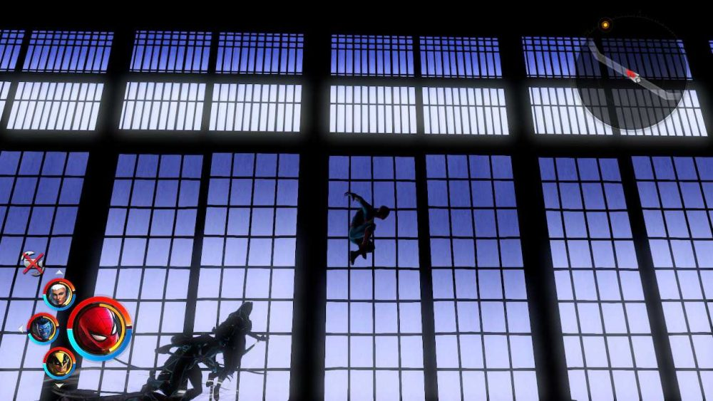 The Shadowland level in Marvel Ultimate Alliance 3. Characters are silhouetted against tall, flat-paned windows that reveal a deep blue-purple sky. Marvel Ultimate Alliance 3: The Black Order, Team Ninja, Nintendo, 2019.