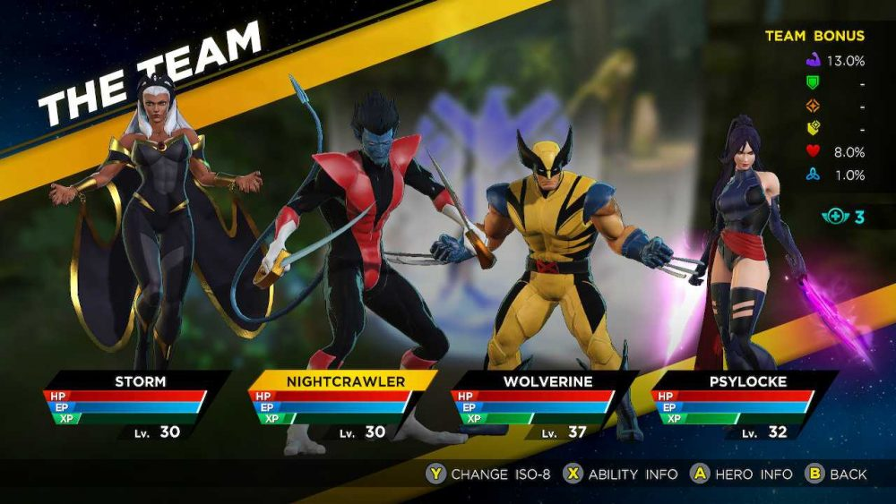 An active team roster for Marvel Ultimate Alliance 3 consisting of the four X-Men available in the base game: Storm, Nightcrawler, Wolverine, and Psylocke. Marvel Ultimate Alliance 3: The Black Order, Team Ninja, Nintendo, 2019.
