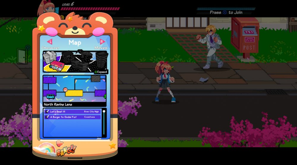 A screenshot of the menu. A smartphone-like device appears over the gameplay screen, which is darkened. The smartphone is in a case with a blushing bear face at the top, and its screen shows a map.