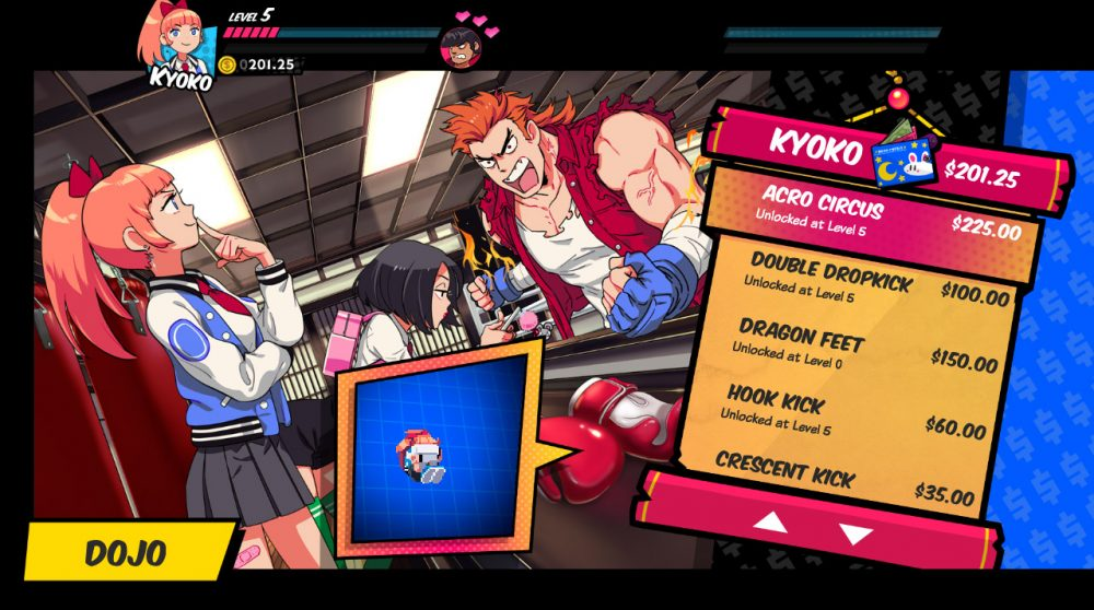 """Two girls are in a space labeled as """"DOJO"""" in the bottom left of the screen. The red-haired girl stands to the left of the frame, looking at the shopkeeper with a contemplative expression. The girl next to her, wearing a bright pink backpack, is positioned further in the background, leaning over a counter while looking at her phone. The shopkeeper has a slicked back red mullet and wears a tattered red shirt with ripped off sleeves over a white top and blue fingerless gloves. He appears to be yelling. To his right, a menu interface lists out various skill sets for the player to buy."""