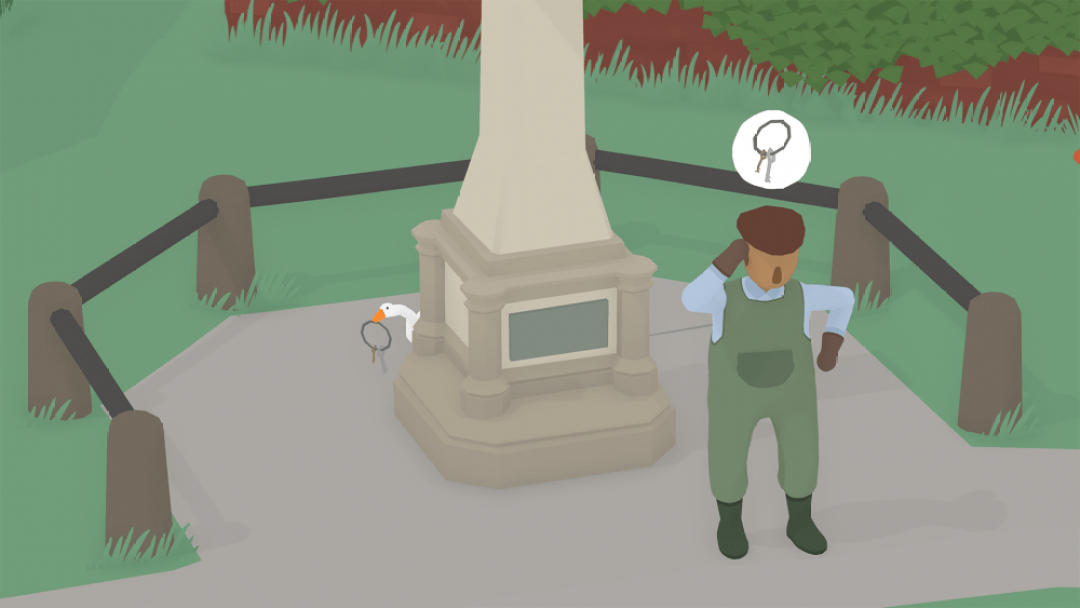 A screenshot of Untitled Goose Game showing the gardener looking confused and thinking about his keys. Behind a statue, the goose holds the keys in its beak.
