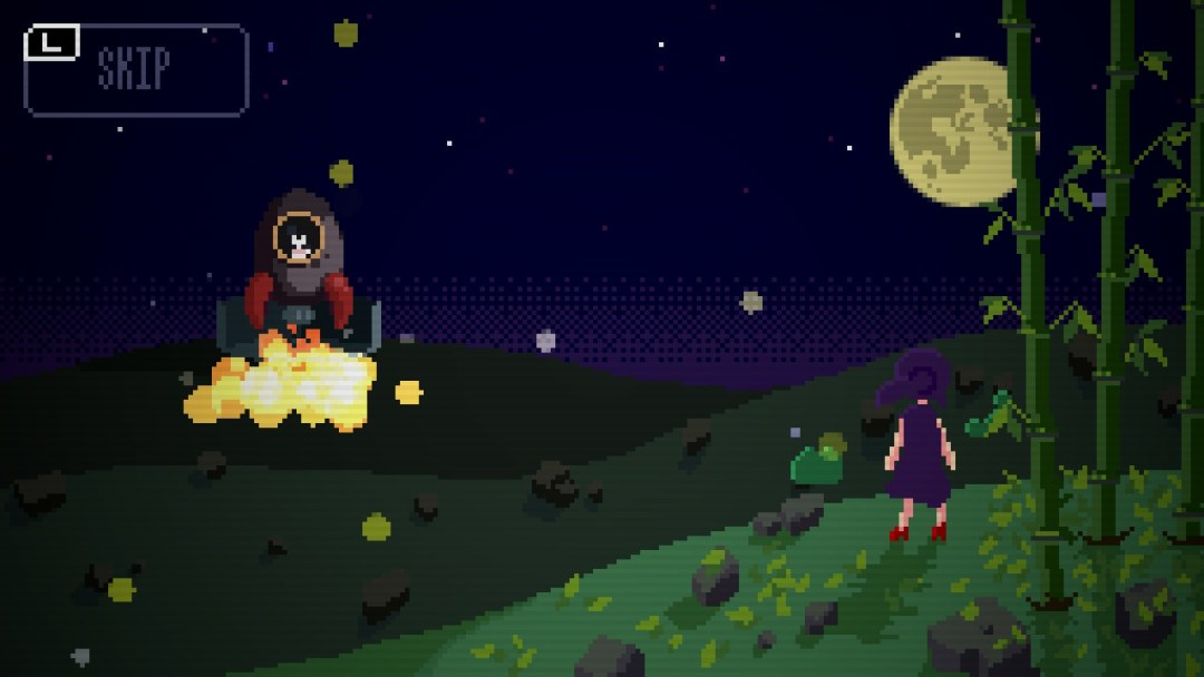 Jill watches from the foreground as a rocket ship takes off into the night sky in the background