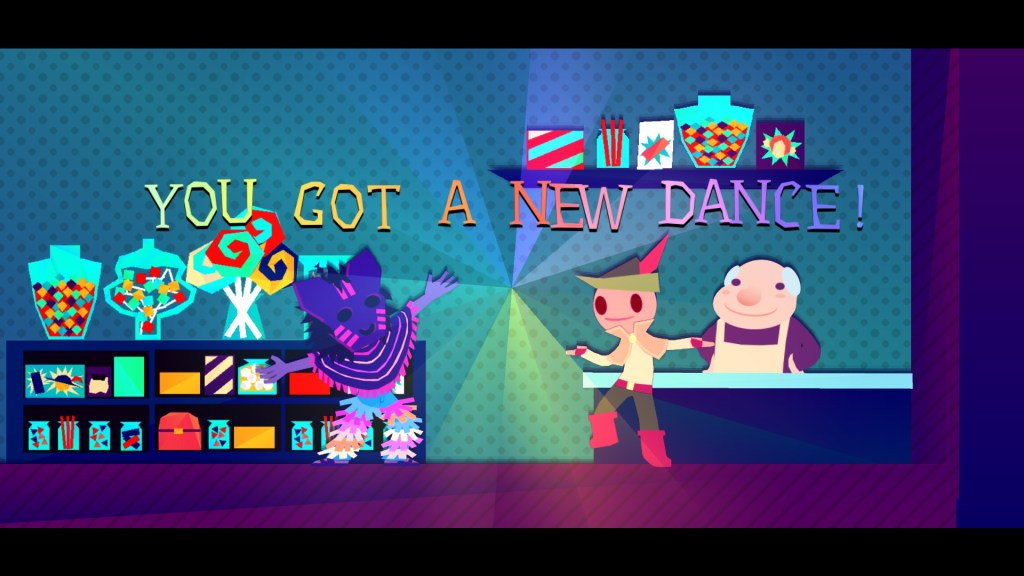 """A screenshot of Wandersong where three people are in a shop. The protagonist and a person wearing a purple mask have their armed splayed. There's also text that reads, """"You got a new dance!"""" Wandersong, Dumb and Fat Games, 2018"""
