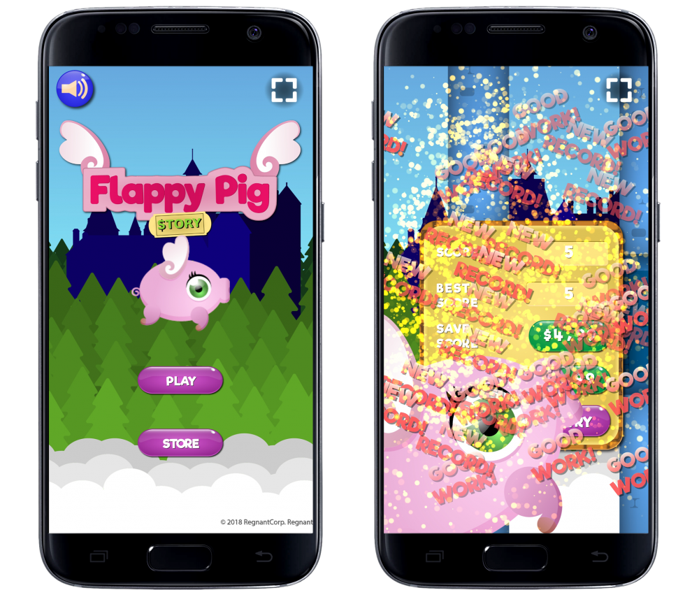 """Mobile representations of a fake game called """"Flappy Pig: Story"""". The pig is cartoonishly designed in an unflattering way with a huge, green eye and wings on its back. In the first screenshot on the left, the pig floats against a generically designed forest backdrop in the sky over menu buttons that say """"PLAY"""" and """"STORE"""". The second screenshot is a mess of phrases like """"GOOD!"""" and """"NEW RECORD!"""" flooding the screen."""