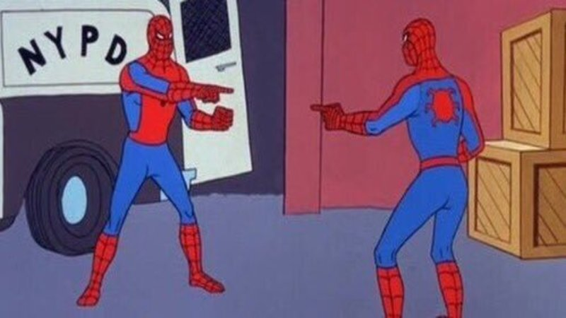 A well-known Spider-Man meme screenshot from the 60s Spider-Man animated series. In the screenshot, two identical Spider-Mans (Spiders-Man?) point at each other, bewildered at seeing their own likenesses before them.