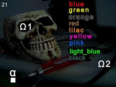 "A picture of a skull with a list of color names cryptically superimposed over it. The text colors do not match the word they're attached to (ex: ""blue"" is written in red). Ω1 is over the skull's eye hole, Ω2 is toward the bottom right of the image. An α over a white square is in the bottom left. Notpron, David Münnich, 2004."
