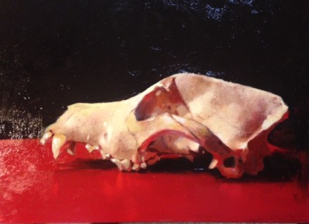 """Brian Busch """"Red Dog"""" 9""""x12"""" Oil on Panel $800 (framed)"""