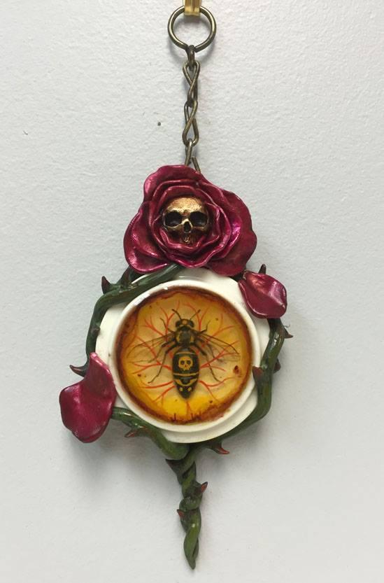 "John Walker, ""Death's Head Hornet in Amber"", approx. 8x3 3/8"" (from top of hanger), Mixed media, $275"