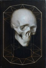 "Jason McPhillips, ""Prototype"", Oil and sgraffito on aluminum, 7.5″x5.5″, $750"