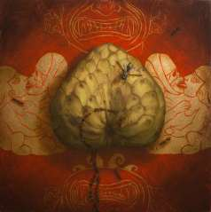 "Jason McPhillips, ""Negentropy"", Oil and Gold Leaf on Panel, 10x10"", SOLD"