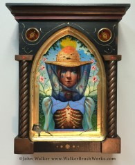 "John Walker, ""Reliquary of an Apiarist"", mixed media, 13.5h x 10.75w x 3.125d"", $1500"