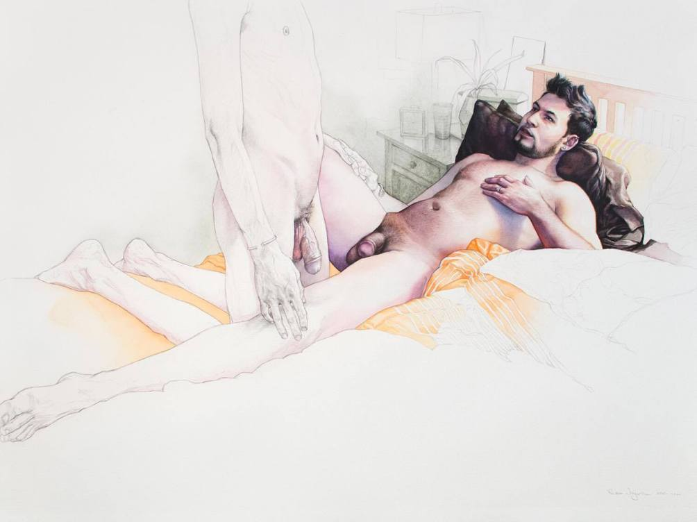 "Reuben Negron ""The Embrace (Color Study)"" graphite and watercolor on paper 30""x22"" +tax and shipping"