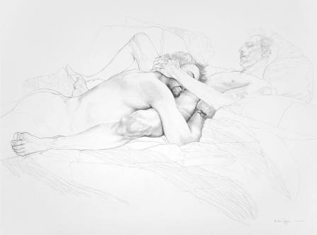 "Reuben Negron ""The Embrace Study"" Graphite on paper 30""x22"" +tax and shipping"