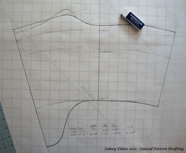 How To Draft A Basic Conical Block (Torso Only), by Sidney Eileen