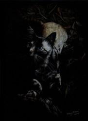 TItle: Midnight Huntress, Artist: Sidney Eileen, Medium: colored pencil on black paper