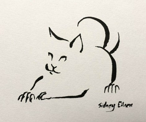 "Minimalist Cat 12, by Sidney Eileen, brush marker on paper 3.5""x3"""