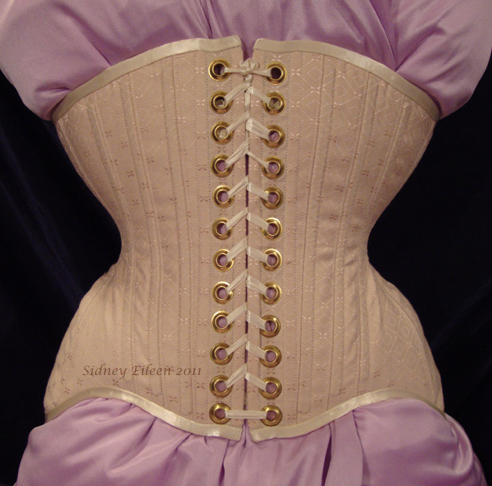 Diamond Brocade Coutil Tight Lacing Corset - Front View, by Sidney Eileen
