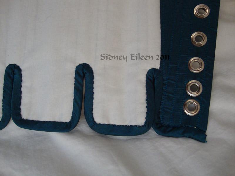 Blue Taffeta Silk Stays with Busk Pocket - Edging Detail, by Sidney Eileen