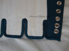Blue Taffeta Silk Stays with Busk Pocket - Edging Detail, by Sidney Eileen