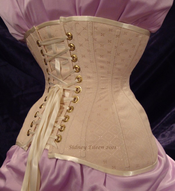 Diamond Brocade Coutil Tight Lacing Corset - Quarter Back View, by Sidney Eileen