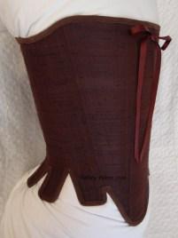 Brown Silk Renaissance Stays - Quarter Front View, by Sidney Eileen