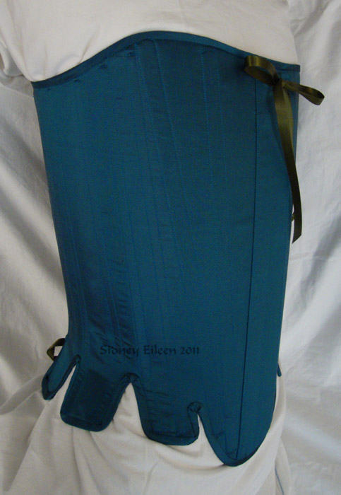Blue Taffeta Silk Stays with Busk Pocket - Quarter Front View, by Sidney Eileen