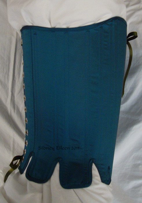 Blue Taffeta Silk Stays with Busk Pocket - Side View, by Sidney Eileen