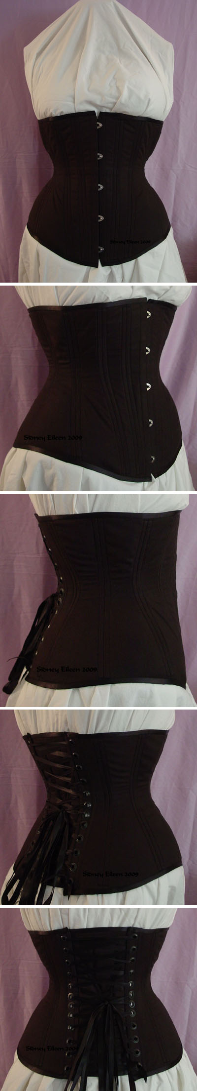 Plain Black Underbust - All Views, by Sidney Eileen