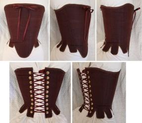 Brown Silk Renaissance Stays - All Views, by Sidney Eileen