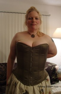 Drab Green Silk Overbust Corset - Front View, by Sidney Eileen