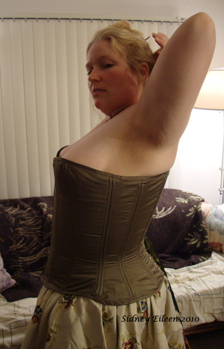 Drab Green Silk Overbust Corset - Side View, by Sidney Eileen