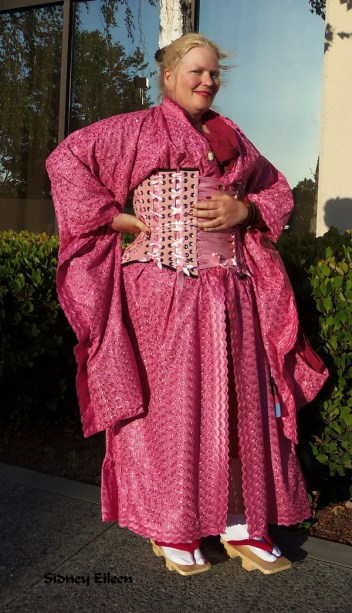 Pink Eyelet Kimono and Velvet Corselet, by Sidney Eileen