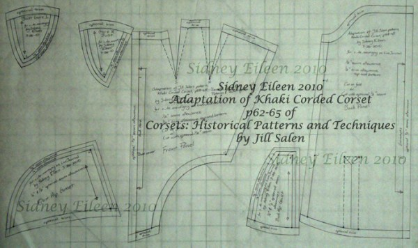 Modified gored corset pattern from historic Victorian pattern