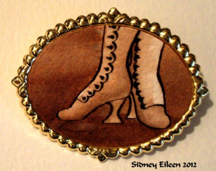 Brown Boots on Large Gold-Tone Pin, by Sidney Eileen, Medium: ink on watercolor paper