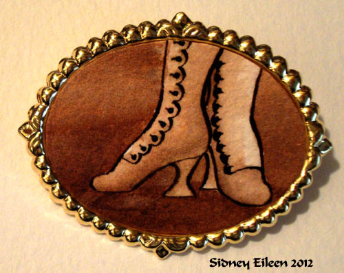 Brown Boots on Large Gold-Tone Pin, by Sidney Eileen