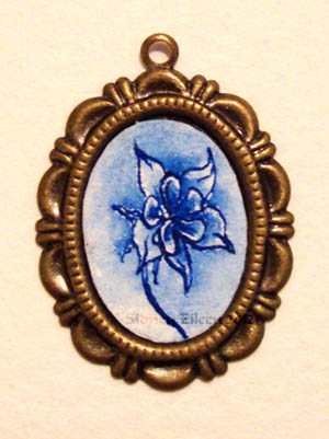 Blue Ink Flower on a Brass Pendant, by Sidney Eileen, Medium: ink on watercolor paper