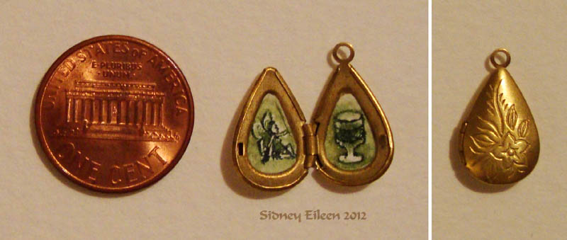 Green Fairy and Absinthe in Teardrop Locket, by Sidney Eileen, Medium: ink on watercolor paper