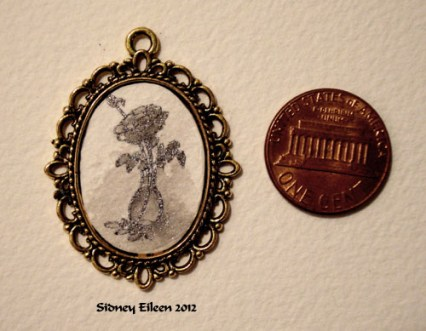 Silver Rose on Brass Pendant, by Sidney Eileen, Medium: ink on watercolor paper