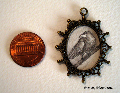 Starry Raven in Brass Dotted Pendant, by Sidney Eileen, Medium: ink on watercolor paper